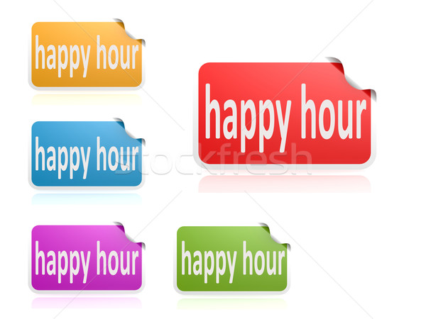 Label set happy hour Stock photo © tang90246