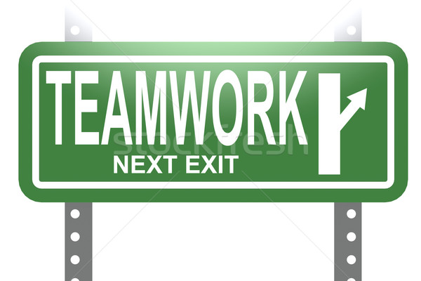 Teamwork green sign board isolated Stock photo © tang90246