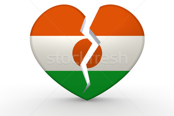 Broken white heart shape with Niger flag Stock photo © tang90246