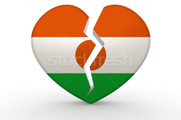 Roto blanco forma de corazón bandera 3D Foto stock © tang90246