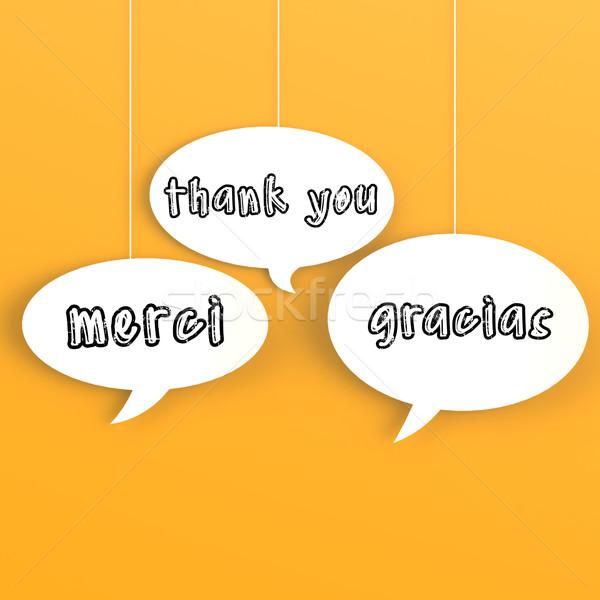 Dank u buitenlands talen bubble toespraak achtergrond Stockfoto © tang90246