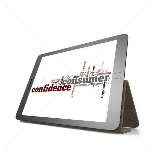 Consumer confidence word cloud on tablet Stock photo © tang90246