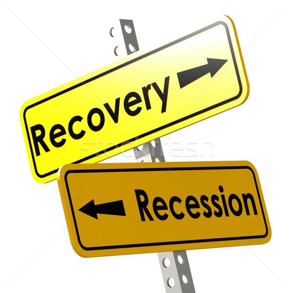 рецессия желтый дорожный знак изображение оказанный Сток-фото © tang90246