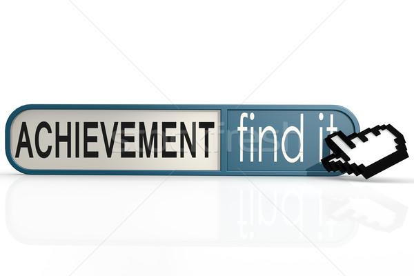 Prestatie woord Blauw vinden banner afbeelding Stockfoto © tang90246