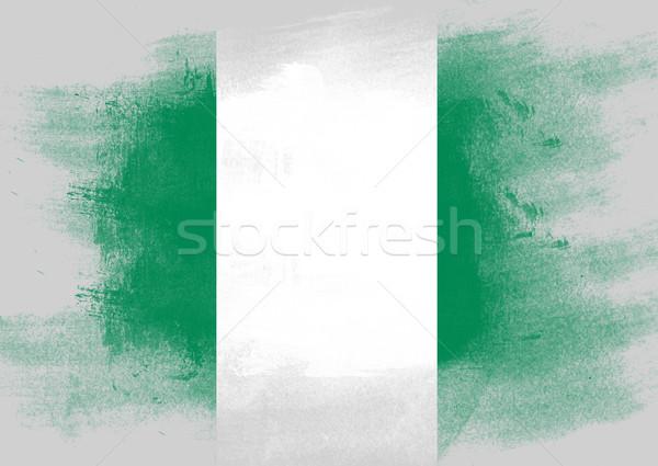 Bandeira Nigéria pintado escove sólido abstrato Foto stock © tang90246