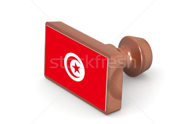 Ahşap damga Tunus bayrak görüntü render Stok fotoğraf © tang90246