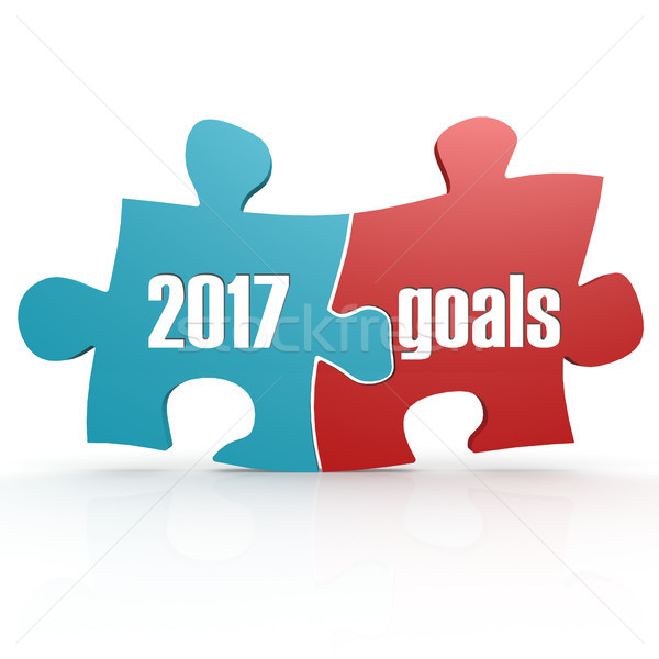 Blue and red with 2017 goals puzzle Stock photo © tang90246
