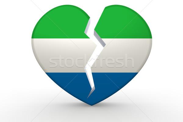 Kırık beyaz kalp şekli bayrak 3D Stok fotoğraf © tang90246