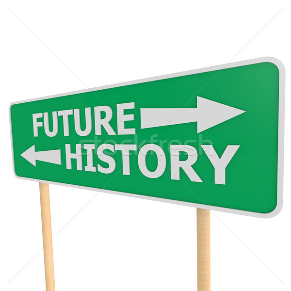 Future history road sign Stock photo © tang90246