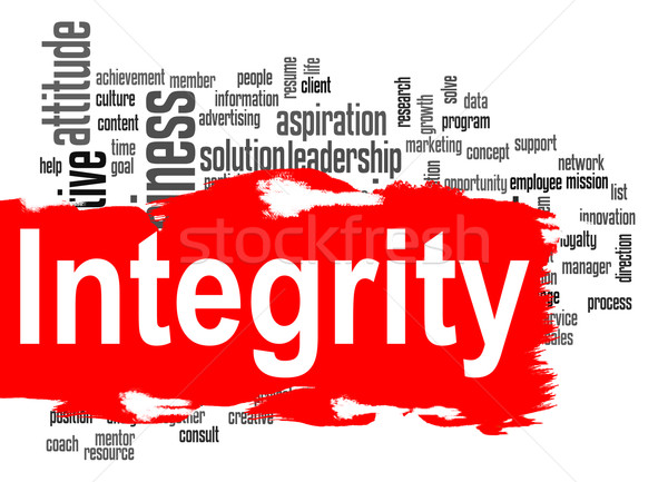 Stock photo: Integrity word cloud with red banner