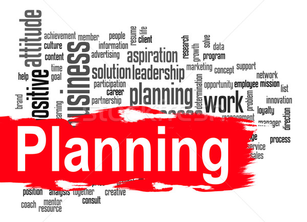 Planning word cloud with red banner Stock photo © tang90246