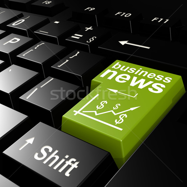 Stock photo: Business news word on the green enter keyboard