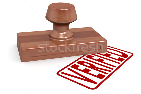 Wooden stamp verified with red text Stock photo © tang90246