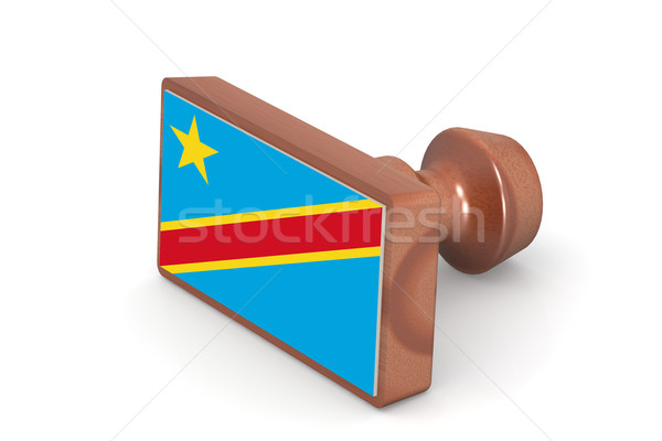 Wooden stamp with Democratic Republic of the Congo flag Stock photo © tang90246