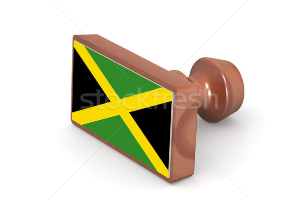 Houten stempel Jamaica vlag afbeelding gerenderd Stockfoto © tang90246