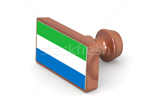 Wooden stamp with Sierra Leone flag Stock photo © tang90246
