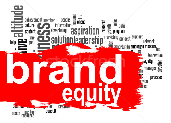 Brand equity word cloud with red banner Stock photo © tang90246