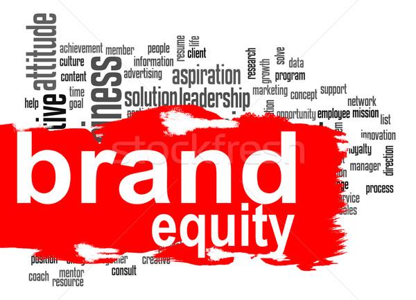 марка капитал слово облако красный баннер изображение Сток-фото © tang90246