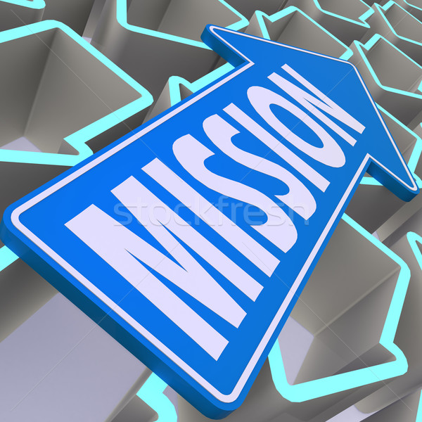 Mission blue arrow Stock photo © tang90246