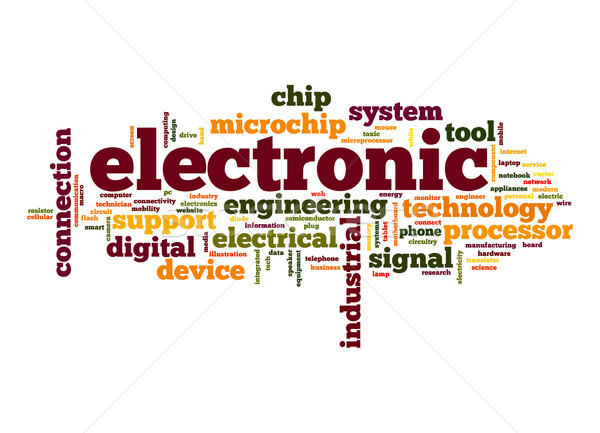 Elektronische woordwolk digitale chip engineering tag Stockfoto © tang90246