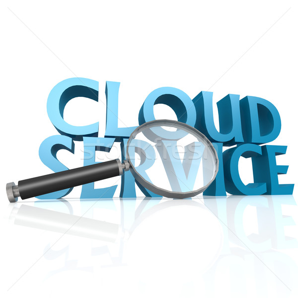 Magnifying glass with blue cloud service word Stock photo © tang90246
