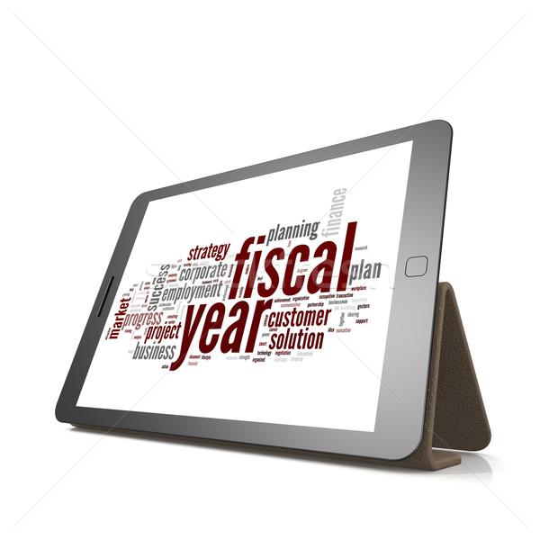 Fiscale woordwolk tablet jaar afbeelding Stockfoto © tang90246