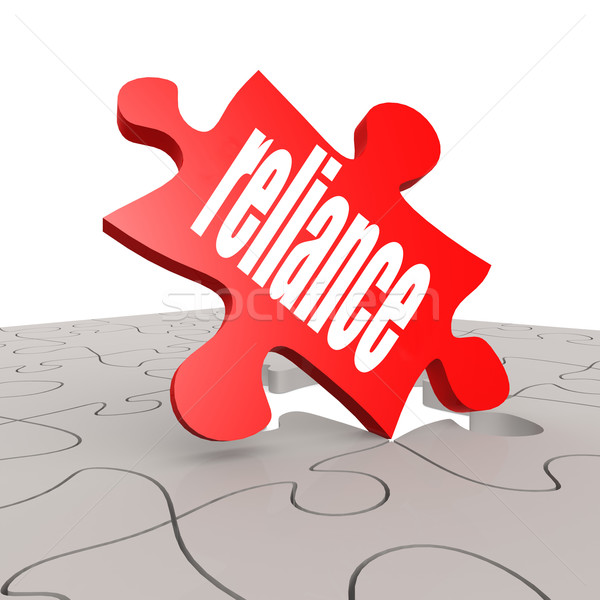 Reliance word with puzzle background Stock photo © tang90246