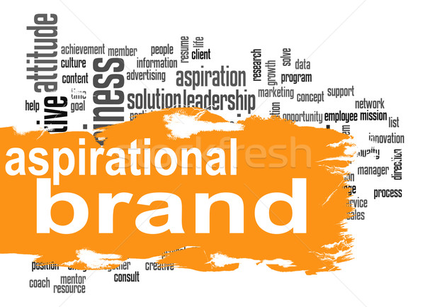 Aspirational brand cloud with orange banner Stock photo © tang90246
