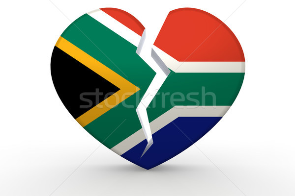 Broken white heart shape with South Africa flag Stock photo © tang90246