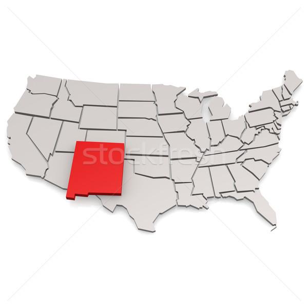 Нью-Мексико карта путешествия белый США границе Сток-фото © tang90246