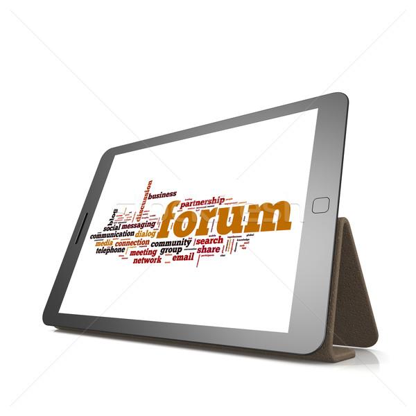 Сток-фото: форуме · слово · облако · таблетка · изображение · оказанный