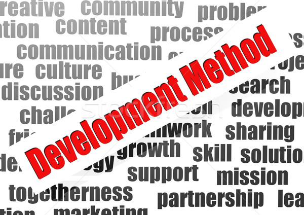 Ontwikkeling methode woordwolk denk plan visie Stockfoto © tang90246