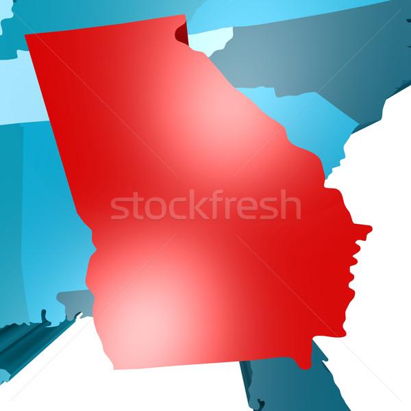 Georgia harita mavi ABD görüntü render Stok fotoğraf © tang90246