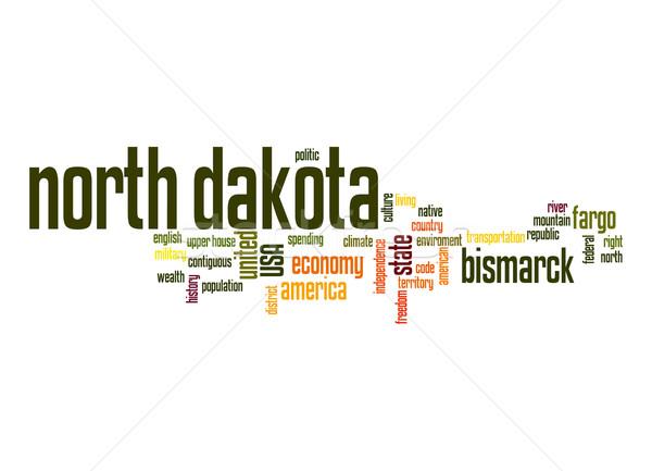 North Dakota woordwolk wolk vrijheid geschiedenis grafische Stockfoto © tang90246