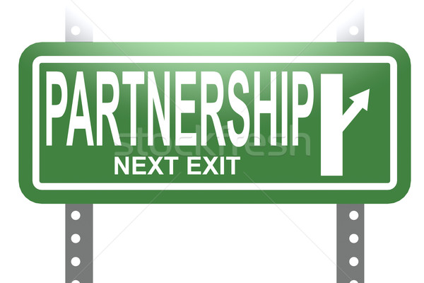 Partnership green sign board isolated Stock photo © tang90246