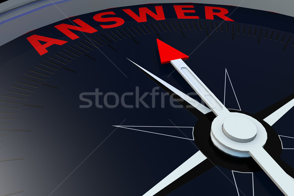Black compass with answer word on it Stock photo © tang90246