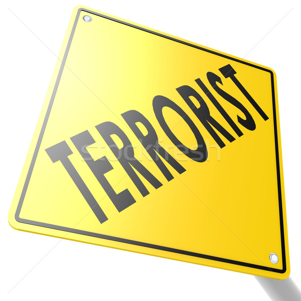 Road sign with terrorist Stock photo © tang90246