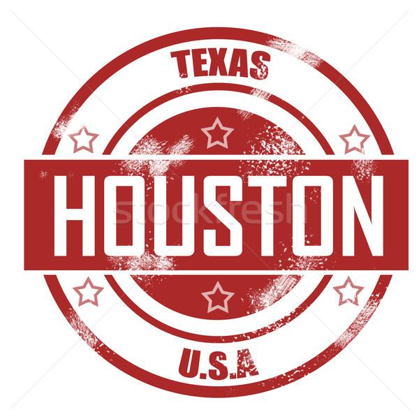 Houston bélyeg felirat piros tinta klasszikus Stock fotó © tang90246