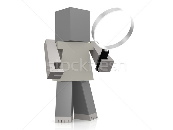 Puppet with magnifying glass Stock photo © tang90246
