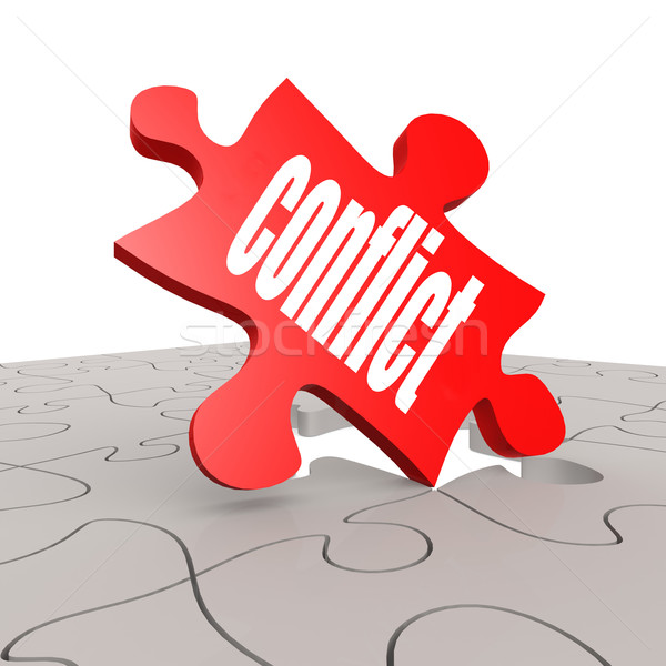 Conflict word with puzzle background Stock photo © tang90246