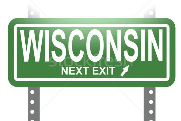 Stock fotó: Wisconsin · zöld · felirat · tábla · izolált · kép