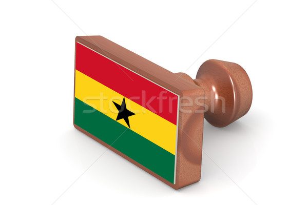 Wooden stamp with Ghana flag Stock photo © tang90246