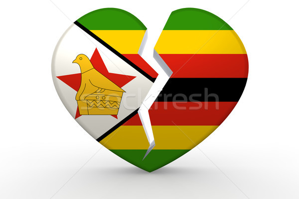 Broken white heart shape with Zimbabwe flag Stock photo © tang90246