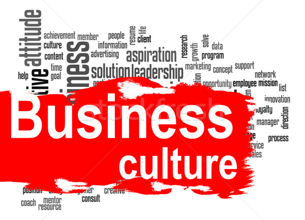 Stock photo: Business culture word cloud with red banner