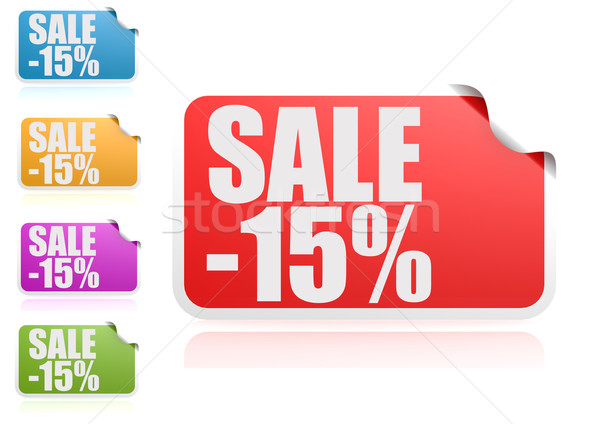 Venda 15 etiqueta conjunto papel assinar Foto stock © tang90246