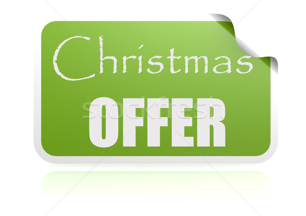 Christmas offer green sticker Stock photo © tang90246