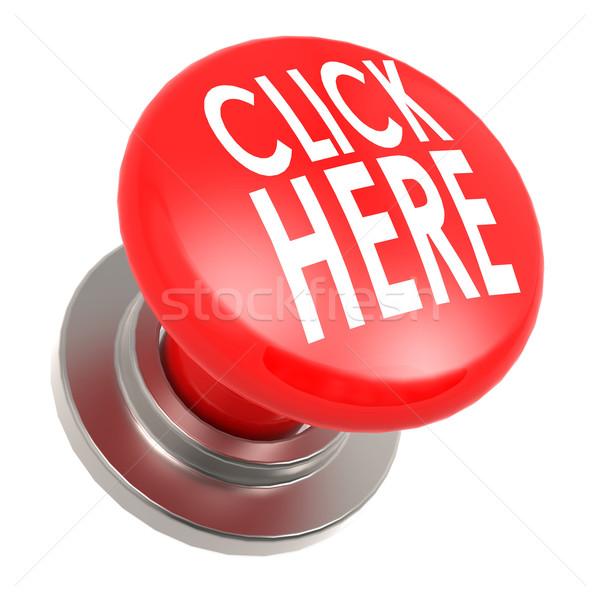 Haga clic aquí rojo botón imagen prestados Foto stock © tang90246