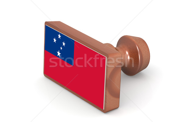 Wooden stamp with Samoa flag Stock photo © tang90246