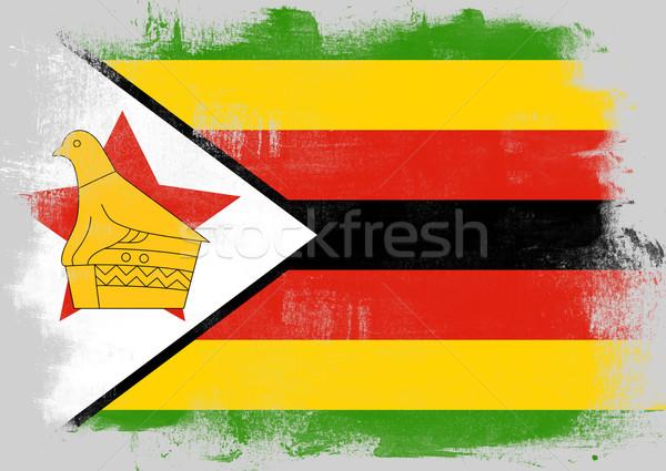 Zászló Zimbabwe festett ecset szilárd absztrakt Stock fotó © tang90246