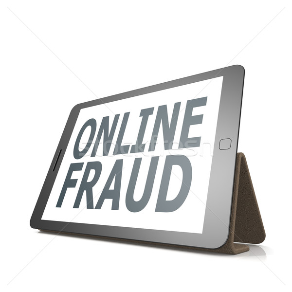 Tablet with online fraud word Stock photo © tang90246